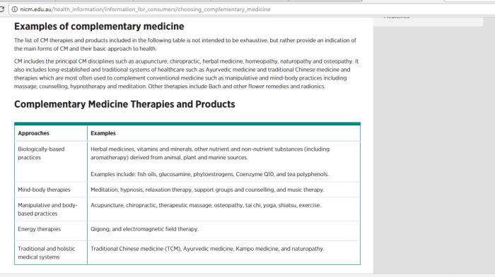 Where can (Australian) consumers find unbiased info regarding complementary medicine? Will you find it on the NICM'swebsite?